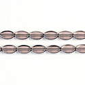 Glass Fire Polished Table Cut Window Bead - Oval 09x6MM AMETHYST with SILVER