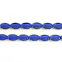 Glass Fire Polished Table Cut Window Bead - Oval 09x6MM SAPPHIRE with GOLD