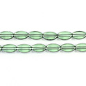 Glass Fire Polished Table Cut Window Bead - Oval 09x6MM TOURMALINE with SILVER