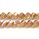 Chinese Cut Crystal Bead - Helix Twisted 08MM CRYSTAL 1/2 FROST ORANGE LUMI