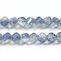 Chinese Cut Crystal Bead - Helix Twisted 08MM CRYSTAL 1/2 FROST BLUE LUMI