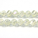 Chinese Cut Crystal Bead - Helix Twisted 08MM CRYSTAL 1/2 FROST YELLOW LUMI