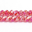 Chinese Cut Crystal Bead - Helix Twisted 08MM CRYSTAL 1/2 FROST RUBY AB