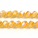 Chinese Cut Crystal Bead - Helix Twisted 08MM CRYSTAL 1/2 FROST TOPAZ AB