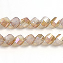 Chinese Cut Crystal Bead - Helix Twisted 08MM CRYSTAL 1/2 FROST DESERT LUMI