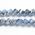 Chinese Cut Crystal Bead - Helix Twisted 08MM OPAL BLUE 1/2 SILVER