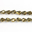 Chinese Cut Crystal Bead - Pear 07x5MM GOLD METALLIC