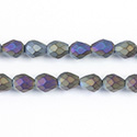 Chinese Cut Crystal Bead - Pear 07x5MM MATTE JET AB