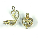Brass Bead Cage Pendant Hinged with Loop - Heart 21x16MM RAW Unplated