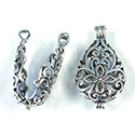 Brass Bead Cage Pendant Hinged with Loop - Pear 30x16MM ANTIQUE SILVER