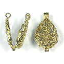 Brass Bead Cage Pendant Hinged with Loop - Pear 30x16MM RAW Unplated