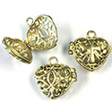 Brass Bead Cage Locket Side Hinge with Loop - Heart 19x19MM RAW Unplated