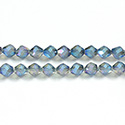 Chinese Cut Crystal Bead - Fancy 06MM FROST CENTER CRYSTAL GREEN TRANFER COAT