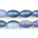 Pressed Glass Bead Smooth - Oval 12x8MM MATTE WHITE OPAL HALF BLUE COAT