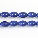 Pressed Glass Bead Smooth - Oval 08x6MM LT NAVY BLUE