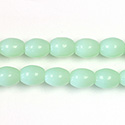 Pressed Glass Bead Smooth - Oval 08x6MM OPAL GREEN