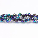 Chinese Cut Crystal Bead - Cube with Offset Hole 06MM FULL METALLIC IRIS PURPLE GREEN