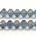 Chinese Cut Crystal Bead - Bicone with frosted Center Girdle 08MM CRYSTAL HALF COAT PURPLE METALLIC