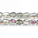 Chinese Cut Crystal Bead - Cone 09x8MM CRYSTAL 1/2 TAUPE LUMI Coated