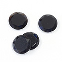 Gemstone Flat Back Stone with Faceted Top and Table - Round 12MM BLACK ONYX