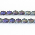 Chinese Cut Crystal Bead - Oval 07x5MM MATTE BLACK DIAMOND AB