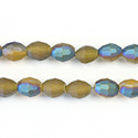 Chinese Cut Crystal Bead - Oval 07x5MM MATTE CITRINE 1/2 GREEN