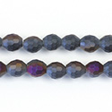 Chinese Cut Crystal Bead - Oval 07x5MM MATTE JET 1/2 PURPLE