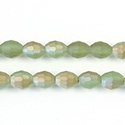 Chinese Cut Crystal Bead - Oval 07x5MM MATTE PERIDOT 1/2 LUMI
