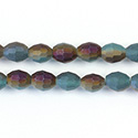 Chinese Cut Crystal Bead - Oval 07x5MM MATTE ZIRCON 1/2 PURPLE