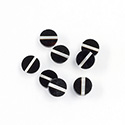Gemstone Flat Back Flat Top Straight Side INLAY DESIGN - Single Stripe Round 07MM BLACK ONYX/MOP