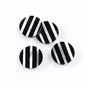 Gemstone Flat Back Flat Top Straight Side INLAY DESIGN - Stripes Round 13MM BLACK ONYX/MOP