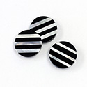Gemstone Flat Back Flat Top Straight Side INLAY DESIGN - Stripes Round 15MM BLACK ONYX/MOP