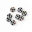 Gemstone Flat Back Flat Top Straight Side INLAY DESIGN - Criss Cross Round 07MM ONYX/MOP