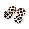 Gemstone Flat Back Flat Top Straight Side INLAY DESIGN - Criss Cross Round 13MM ONYX/MOP