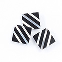 Gemstone Flat Back Flat Top Straight Side INLAY DESIGN - Diagonal Stripe Square 13MM ONYX/MOP
