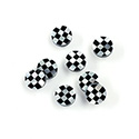 Gemstone Flat Back Flat Top Straight Side INLAY DESIGN - Checkerboard Round 07MM BLACK ONYX/MOP