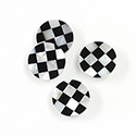 Gemstone Flat Back Flat Top Straight Side INLAY DESIGN - Checkerboard Round 13MM BLACK ONYX/MOP