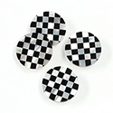 Gemstone Flat Back Flat Top Straight Side INLAY DESIGN - Checkerboard Round 15MM BLACK ONYX/MOP