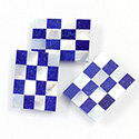 Gemstone Flat Back Flat Top Straight Side INLAY DESIGN - Cushion 20/15 - LAPIS/WHITE MOP