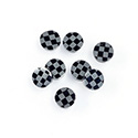 Gemstone Flat Back Flat Top Straight Side INLAY DESIGN - Checkerboard Round 07MM BLACK ONYX/HEMATITE