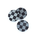 Gemstone Flat Back Flat Top Straight Side INLAY DESIGN - Checkerboard Round 15MM BLACK ONYX/HEMATITE