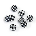 Gemstone Flat Back Flat Top Straight Side INLAY DESIGN - Checkerboard Small Pattern Round 08MM BLACK ONYX/MOP