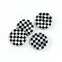Gemstone Flat Back Flat Top Straight Side INLAY DESIGN - Checkerboard Small Pattern Round 13MM MOP/ONYX