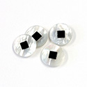 Gemstone Flat Back Flat Top Straight Side INLAY DESIGN - Round 12.4MM MOP/ONYX