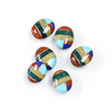 Gemstone Flat Back Inlay Buff Top Straight Side Stone - Oval 10x8MM MULTI COLOR