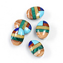 Gemstone Flat Back Inlay Buff Top Straight Side Stone - Oval 14x10MMMULTI COLOR