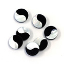 Gemstone Flat Back Flat Top Straight Side INLAY DESIGN - Yin Yang Round 10MM ONYX/MOP