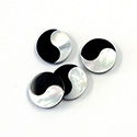 Gemstone Flat Back Flat Top Straight Side INLAY DESIGN - Yin Yang Round 12MM ONYX/MOP