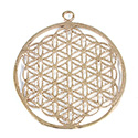Metal Filigree Link Pendant - Flat Round 42MM BRASS