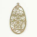 Metal Filigree Flat Pendants - Flat Pear 40x24MM BRASS